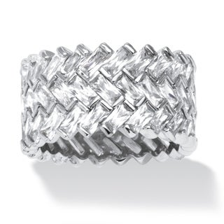PalmBeach 9.66 TCW Cubic Zirconia Baguette Chevron Ring in Platinum over Sterling Silver Glam CZ