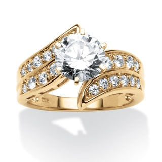2.54 TCW Round Cubic Zirconia Bypass Ring in 18k Gold over Sterling Silver Classic CZ