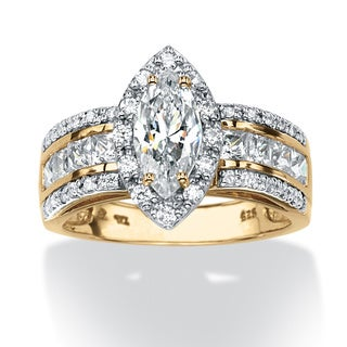 PalmBeach 2.02 TCW Marquise-Cut Cubic Zirconia Ring in 18k Gold over Sterling Silver Classic CZ