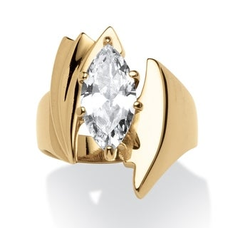 2.48 TCW Marquise-Cut Cubic Zirconia Angled Ring Gold Ion Plated Glam CZ