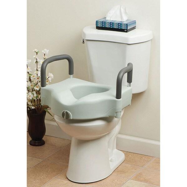 Medline Locking Elevated Toilet Seat with Armrest