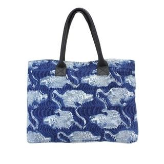 Navy Animal Print Market Tote Bag (India)