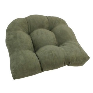 Blazing Needles Earthtone 19-inch U-Shaped Tufted Microsuede Chair Cushion