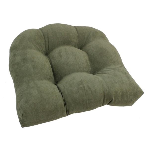 Blazing Needles Earthtone 19-inch U-Shaped Tufted Microsuede Chair Cushion