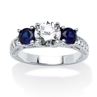 Sterling Silver Cubic Zirconia and Sapphire 3-Stone Bridal Ring - Blue/White