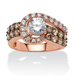 2.53 TCW Round Cubic Zirconia and Chocolate Cubic Zirconia Ring in Rose Gold over Sterling