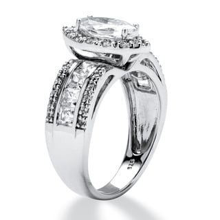 2.02 TCW Marquise-Cut Cubic Zirconia Ring in Platinum over Sterling Silver Classic CZ