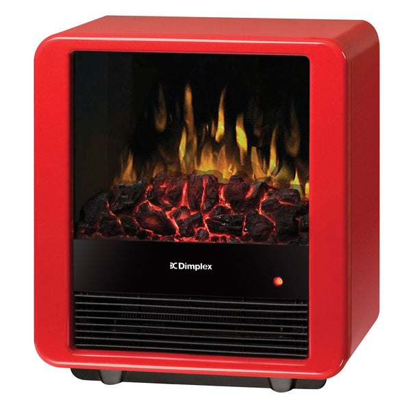 Dimplex DMC13R Electric Flame Stove with Gloss Red Finish and Louvered Door