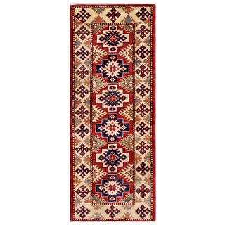 Herat Oriental Afghan Hand-knotted Kazak Red/ Ivory Wool Rug (2' x 5'9)