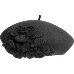 Women's Betmar Flower Beret Black