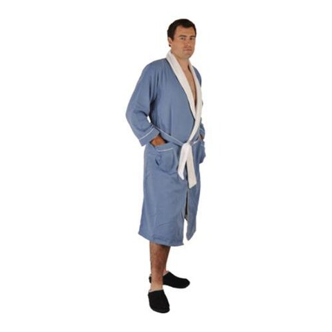 Chadsworth & Haig Ultimate Doeskin Robe- 5XL Size Periwinkle/White