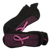 Women's Crescent Moon Yoga ExerSock (3 Pairs) Black/Pink Ribbon
