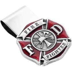 Men's Cufflinks Inc Enamel Firefighter Money Clip Pewter