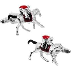 Men's Cufflinks Inc Enamel Race Horse Cufflinks Brown