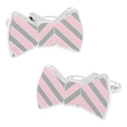 Men's Cufflinks Inc Striped Bowtie Cufflinks Grey/Pink