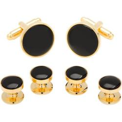 Men's Cufflinks Inc Stud Set Gold/Onyx