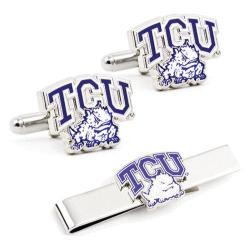 Men's Cufflinks Inc TCU Horned Frog Cufflinks and Tie Bar Gift Set Purple