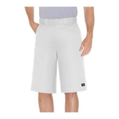 Men's Dickies 13in Loose Fit Twill Stripe Multi-Pocket Work Short White