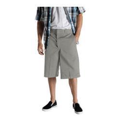 Men's Dickies 13in Loose Fit Twill Stripe Multi-Pocket Work Short Silver Grey
