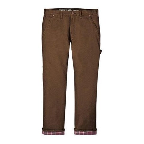 Men's Dickies Relaxed Straight Fit Flannel-Lined Carpenter Jean Brown Duck