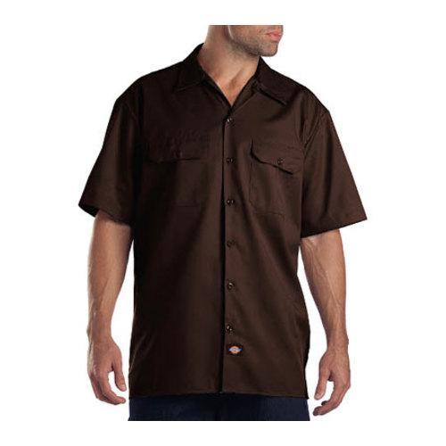 Men 39 s dickies short sleeve work shirt dark brown free for Black brown mens shirts