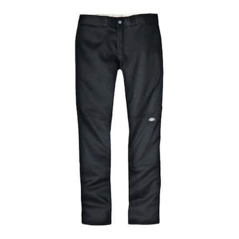 Men's Dickies Skinny Straight Fit Double Knee Work Pant 30in Inse Black