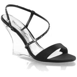 Women's Fabulicious Lovely 417 Black Satin/Clear
