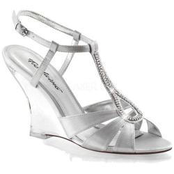 Women's Fabulicious Lovely 420 Silver Satin/Clear (3 options available)
