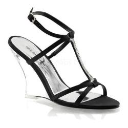 Women's Fabulicious Lovely 428 Black Satin/Clear