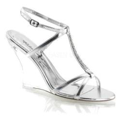 Women's Fabulicious Lovely 428 Silver Metallic PU/Clear