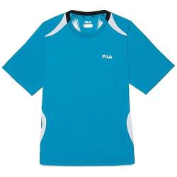 Boys' Fila Baseline Crewneck Atomic Blue/Ebony/White