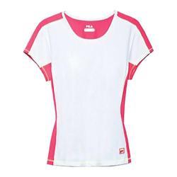 Women's Fila Baseline Short Sleeve Top White/Diva Pink/Safety Yellow