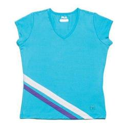Girls' Fila Center Court Cap Sleeve Top Blue Atoll/White/Simply Purple