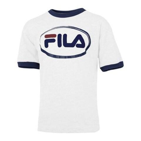 Boys' Fila Oval T-Shirt White/Dark Navy/Red