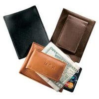 Millennium Leather Magnetic Money Clip with Card Pocket Black Florentine Napa Leather
