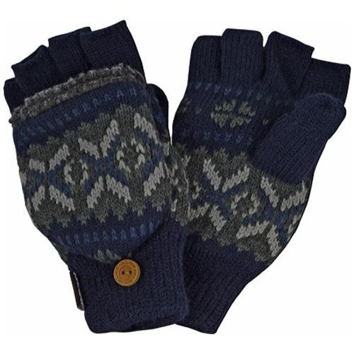 Men's MUK LUKS Sweater Vest Flip Glove Navy/Grey (US Men's One Size (Hand 6-11))