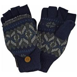 Men's MUK LUKS Sweater Vest Flip Glove Navy/Grey