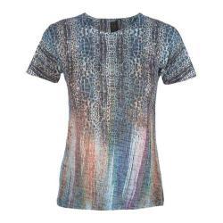Women's Ojai Clothing Burnout Crewneck Casitas Blue Jungle Lights
