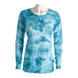 Women's Ojai Clothing Burnout Crewneck Teal Blue Cloudwash