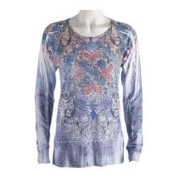 Women's Ojai Clothing Burnout L/S Crewneck Inspiration Blue