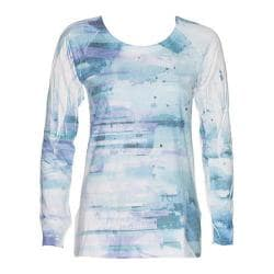Women's Ojai Clothing Burnout Crewneck Teal Blue Windpower