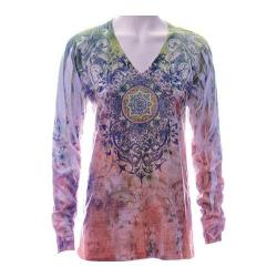 Women's Ojai Clothing Burnout L/S V-Neck Moss Inspiration
