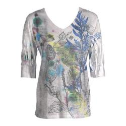 Women's Ojai Clothing Burnout Relaxed Fit Vee Citron Wildflowers