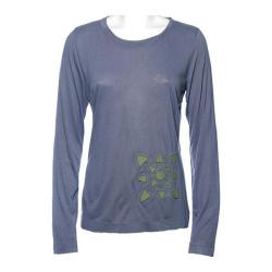 Women's Ojai Clothing Flower Applique Shirt Slate/Pesto
