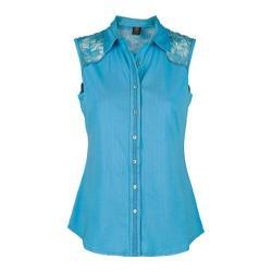 Women's Ojai Clothing Lace Yoke Button Down Casitas Blue