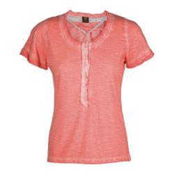 Women's Ojai Clothing Raw Edge Henley Peach Tea