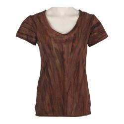 Women's Ojai Clothing Tie Dye V-Neck Chocolate