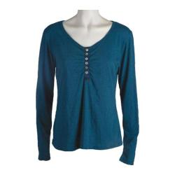Women's Ojai Clothing Tipped Henley Teal Blue