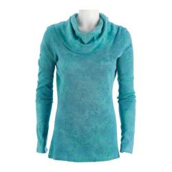 Women's Ojai Clothing Vintage Cowl Neck Teal Blue Crinkle