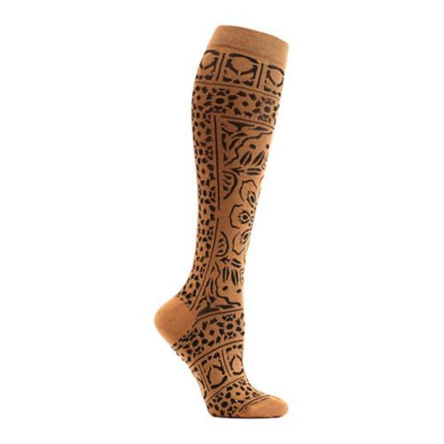 Women's Ozone Floral Mosaic Knee High Socks Beige